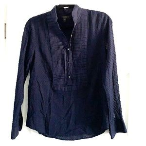 J crew, dotted, half button up blouse